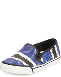 Alice + Olivia Piper Snake Print Leather Sneaker Bluemulti