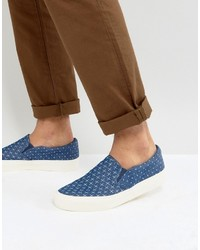 Asos Slip On Sneakers In Blue Chambray With Cross Print