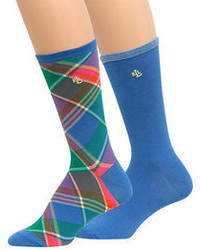 Ralph Lauren Plaid Trouser Sock Set 2 Pack
