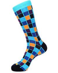 Jared Lang Square Print Cotton Blend Socks Blue Pattern