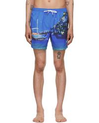 Ermenegildo Zegna Blue Capri Print Mid Swim Shorts