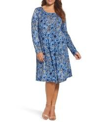 Blue Print Swing Dress