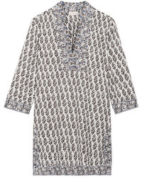 Tory Burch Scultura Printed Cotton Voile Tunic Navy