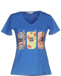 Blue Print V-neck T-shirt
