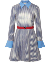 Valentino Med Printed Wool And Mini Dress