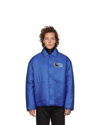 Prada Blue Nylon Logo Patch Jacket