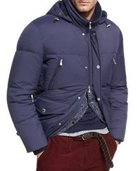 Brunello Cucinelli Quilted Nylon Down Jacket Cobalt