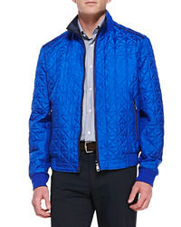 Blue Quilted Bomber Jacket