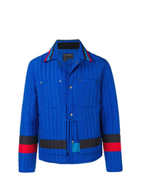 Blue Quilted Shirt Jacket