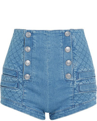 PIERRE BALMAIN Button Detailed Quilted Stretch Denim Shorts Indigo