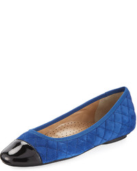 Neiman Marcus Saucy Quilted Suede Flat Jordan Blue