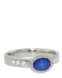 Adel Chefridi Oval Blue Sapphire Ring Platinum