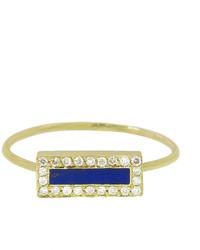 Jennifer Meyer Diamond Lapis Inlay Bar Ring Yellow Gold