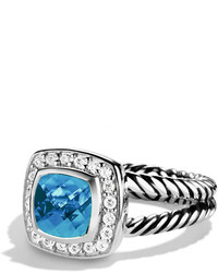 Petite albion ring with blue topaz and diamonds medium 274555