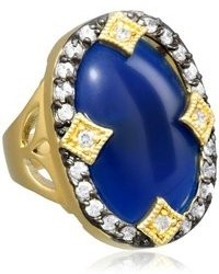 Riccova Cosmopolitan 14k Gold And Rhodium Plated Ring With Large Oval Blue Stone