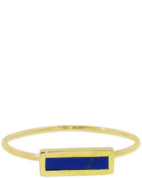 Jennifer Meyer Short Inlay Lapis Bar Ring Yellow Gold