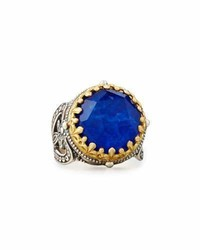 Konstantino Small Round Crystal Quartz Over Lapis Ring
