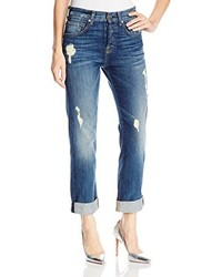 7 For All Mankind 1984 Boyfriend Jean In Destroyed Deep Indigo