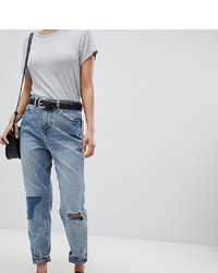 Asos Petite Asos Design Petite Recycled Ritson Rigid Mom Jeans In Divinity Rich Mid Blue Wash With Rip Repair Detail