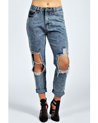 Boohoo Jane Ripped Midwash Boyfriend Jean
