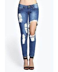 Boohoo Sara Relaxed Boyfriend Super Ripped Jeans