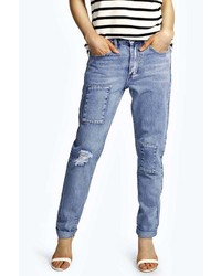 Boohoo Sara Relaxed Fit Patchwork Boyfriend Jeans