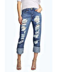 Boohoo Sara Relaxed Fit Turn Up Boyfriend Jeans