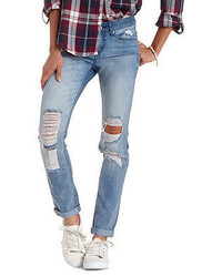 Charlotte Russe Light Wash Destroyed Boyfriend Jeans