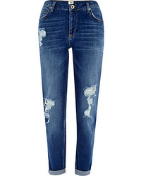 River Island Dark Wash Ripped Ashley Slim Boyfriend Jeans