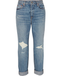 Grlfrnd Devon Distressed High Rise Straight Leg Jeans