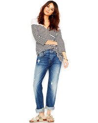 7 For All Mankind Distressed 1984 Boyfriend Jeans Destroyed Deep Indigo