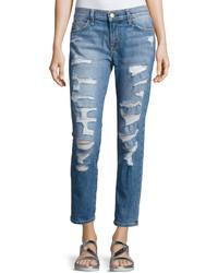 Current/Elliott Distressed Boyfriend Jeans Blue
