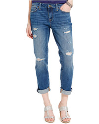 Tommy Hilfiger Distressed Crochet Panel Boyfriend Jeans
