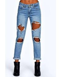 Boohoo Izzy Cloudy Wash Ripped Boyfriend Jeans