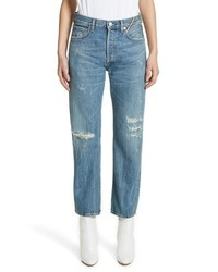 Jean Atelier Laurent High Rise Distressed Boyfriend Jeans