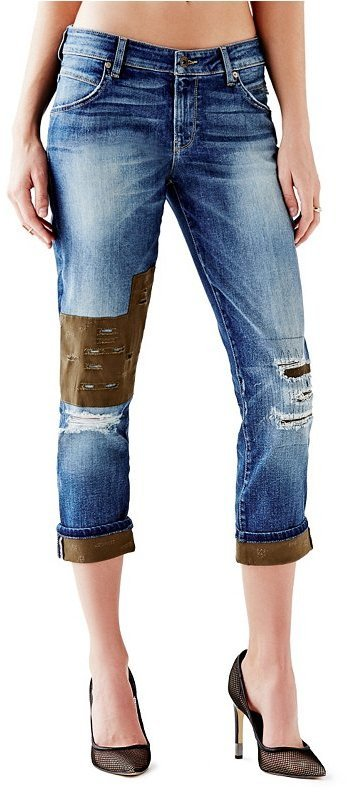 beautiful design luxury buy best $138, GUESS Mid Rise Patched Boyfriend Jeans In Nashborough Wash