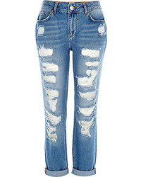 River Island Mid Wash Ripped Ultimate Boyfriend Jeans