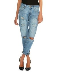 Mossimo Boyfriend Crop Jean Destroyed Light Denim Tm