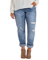 Charlotte Russe Plus Size Destroyed Cropped Boyfriend Jeans