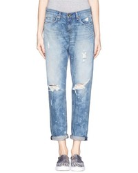 Rag and Bone Rag Bonejean Boyfriend Splotched Distressed Jeans