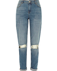 River Island Mid Wash Ripped Knee Ashley Boyfriend Jeans