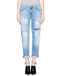 Current/Elliott The Fling Ripped Patchwork Slim Boyfriend Jeans