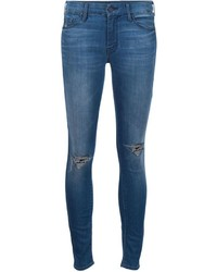 Blue Ripped Cotton Skinny Jeans
