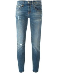 R 13 R13 Skinny Fit Distressed Jeans