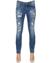 Dolce & Gabbana Skinny Destroyed Cotton Denim Jeans