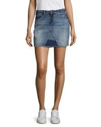 Distressed denim mini skirt medium 4414880