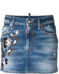 Dsquared2 Leopard Print Denim Skirt