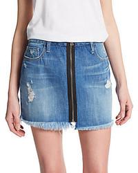 Taryn zip front denim mini skirt medium 241980