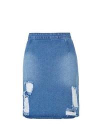 Blue Ripped Denim Pencil Skirt