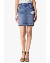 7 For All Mankind Mini Pencil Skirt With Released Hem In Rigid Blue Orchid